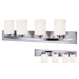Canarm Luztar Hampton 4 Bulb Vanity Light with White Opal Glass - Brushed Pewter Finish