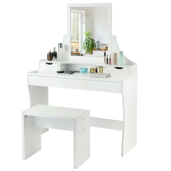 Black And White Modern Dressing Table Set With Flip Up Mirror Wood Makeup Table Vanity Console Dresser With Stool Bedroom Furniture Girls Gift Dressing Tables Bedroom Furniture