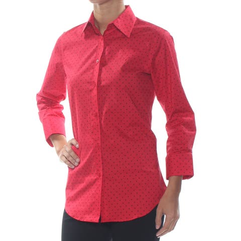 RALPH LAUREN Womens Red Polka Dot Long Sleeve Collared Top Size 2XS