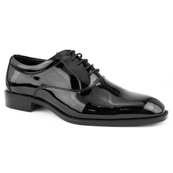 Shop Amali Men's Patent High Shine Faux Leather Oxford