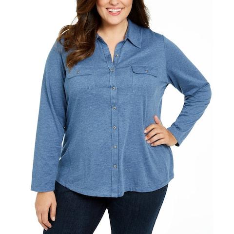 Karen Scott Women's Plus Size Button-Front Collared Top Blue Size 2 Extra Large - XX-Large
