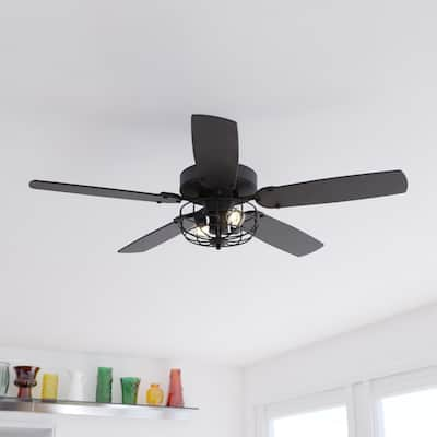 Reed 48-in. Matte Black Farmhouse Ceiling Fan with LED Cage Light Kit and Pull Chains - 48-in. W x 20-in. H x 48-in. D