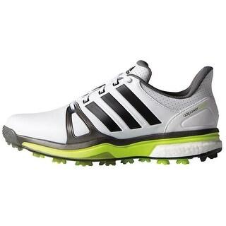 Adidas Men's Adipower Boost 2 White/Dark Silver Metallic/Solar Yellow Golf Shoes F33364 / Q44668