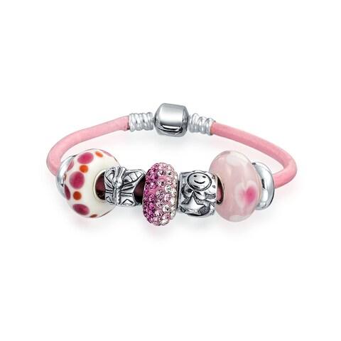 Bling Jewelry Silver Enamel Glass Crystal Bead Charm Bracelet