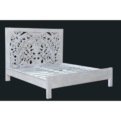 Rhu Home Carved solid Wooden Bed Frame King