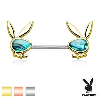 Abalone Inlaid Face Playboy Bunny Ends Surgical Steel Nipple Ring Barbell - 14GA (Sold Ind.)