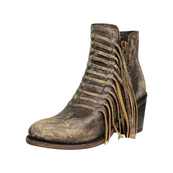 Corral Western Boots Womens Distressed Fringe Zip Black Brown