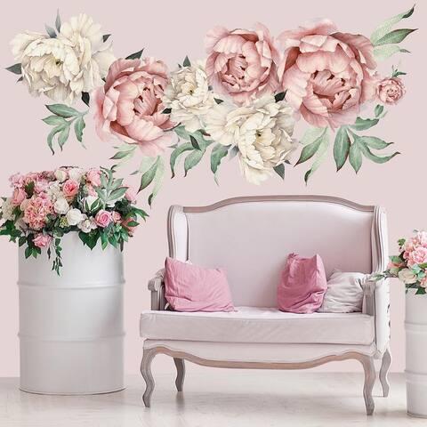 Watercolor Peony Flowers