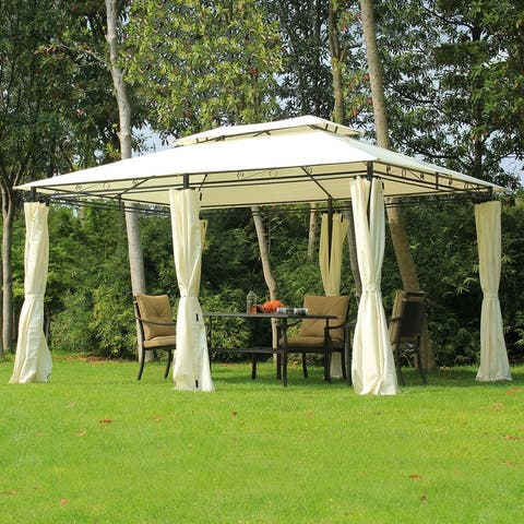 Outsunny Outdoor 2-Tier Steel Frame Pop-up Shade Gazebo
