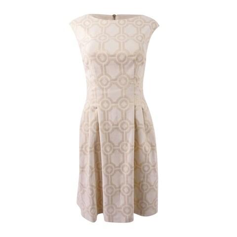 Vince Camuto Women's Metallic-Print Fit & Flare Dress