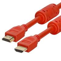 28 AWG High Speed HDMI Cable With Ferrite Cores - 10 Feet Red