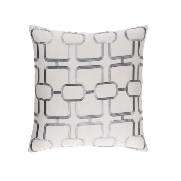 """22"""" Tribal Elements Pigeon Blue and White Water Gray Woven Throw Pillow"""