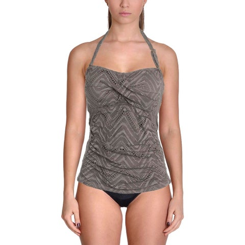 Leilani Womens Crochet Strapless Swim Top Separates
