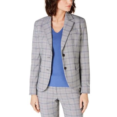 Anne Klein Women's Jacket Gray Size 12 Notch Collar Houndsooth Plaid