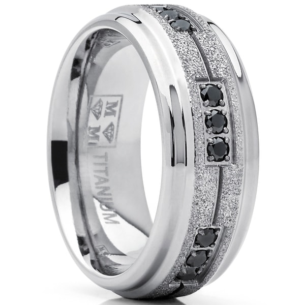Oliveti Men's Shimmer Finish Titanium Wedding Band Ring with Black Cubic Zirconia 8mm Comfort Fit. Opens flyout.