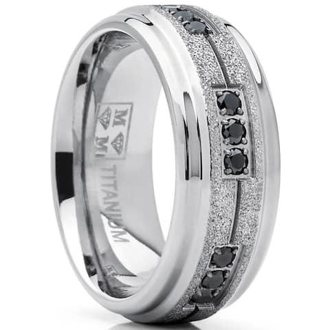 Oliveti Men's Shimmer Finish Titanium Wedding Band Ring with Black Cubic Zirconia 8mm Comfort Fit