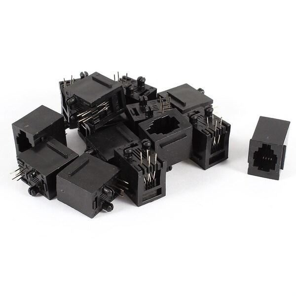 Unique Bargains 14 Pcs Straight Pin RJ9 RJ10 RJ22 4P4C Handset Cord Socket Vert PCB Jack
