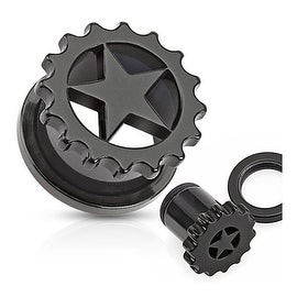 Solid Acrylic Star Inside Gear Screw Fit Tunnel (Sold Individually)