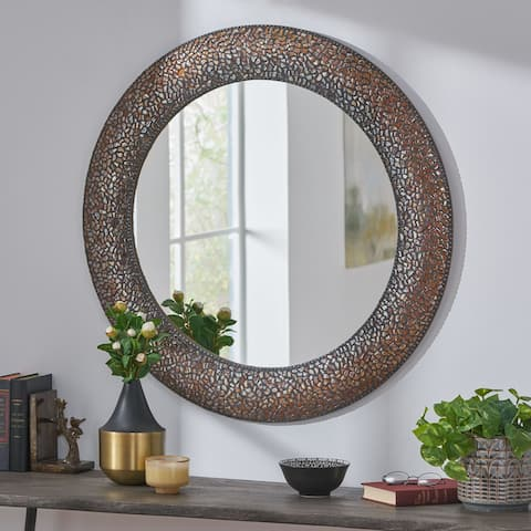 """Rawson Traditional Handcrafted Round Mosaic Wall Mirror by Christopher Knight Home - 36.00"""" L x 1.00"""" W x 36.00"""" H"""