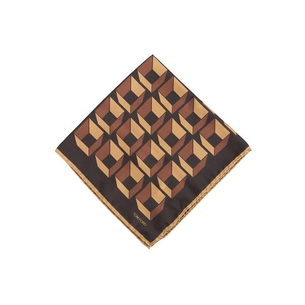 Tom Ford Mens Orange Brown Geometric Pocket Square - One size