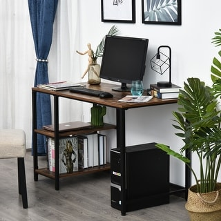 """HomCom 47"""" Modern/Industrial Computer Writing Desk with 2 Storage Shelves for Home Office, Study, or Game Room"""