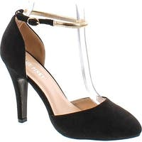 Annie Pinky Kara-07 Women's Sassy D'orsay Ankle Strap Dress Pumps - Black