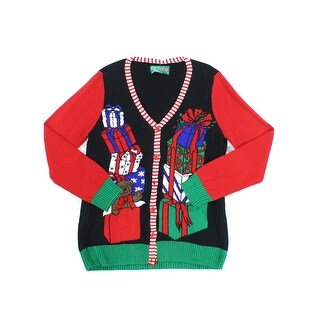 Ugly Christmas Sweater NEW Black Mens Size Large L Cardigan Sweater