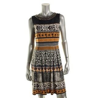 Sandra Darren Womens Petites Jersey Embellished Cocktail Dress - 10P