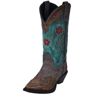 Laredo Western Boots Womens Miss Kate Arrow Snip Toe Tan Teal 52138