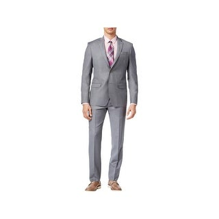 DKNY Mens Two-Button Suit Wool Slim Fit - 40r