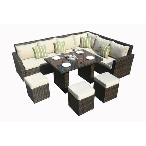Outdoor 8-piece Wicker Sofa Patio Dining Set by Direct Wicker