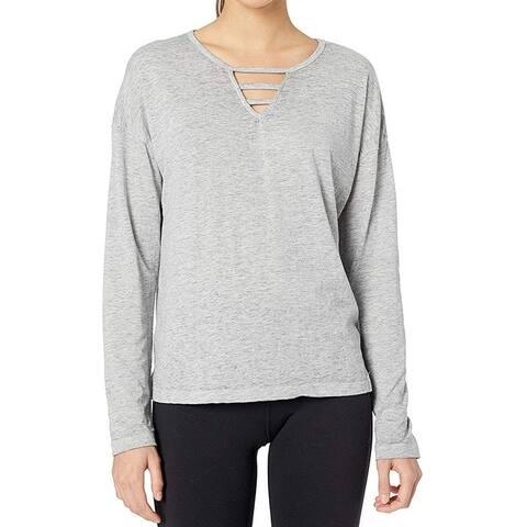 MARC YORK Women's Top Blouse Gray Small S Knit Cutout Long Sleeve