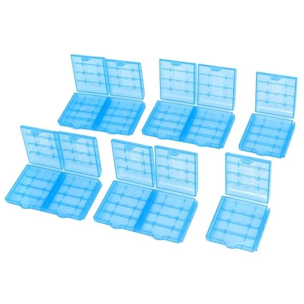 Unique Bargains 10PCS Blue Plastic Battery Storage Box Holder Case for 4 x AA / AAA Batteries