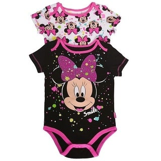 Disney Baby Girls Black Fuchsia Minnie Figure Print 2 Pc Bodysuit Pack