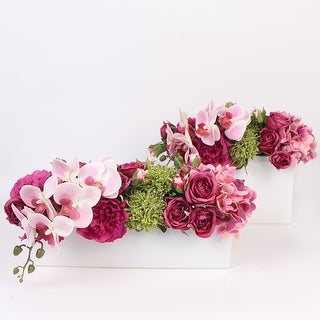 G Home Collection Luxury Pink Rose Peony Hydrangea Orchid Flower Arrangement