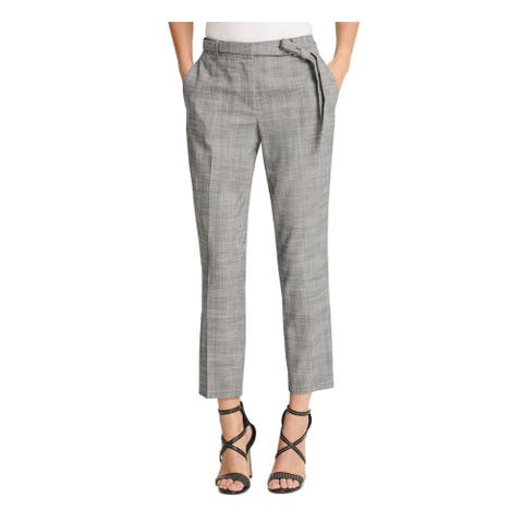 DKNY Womens Gray Zippered Pocketed Plaid Wear To Work Pants Size 14