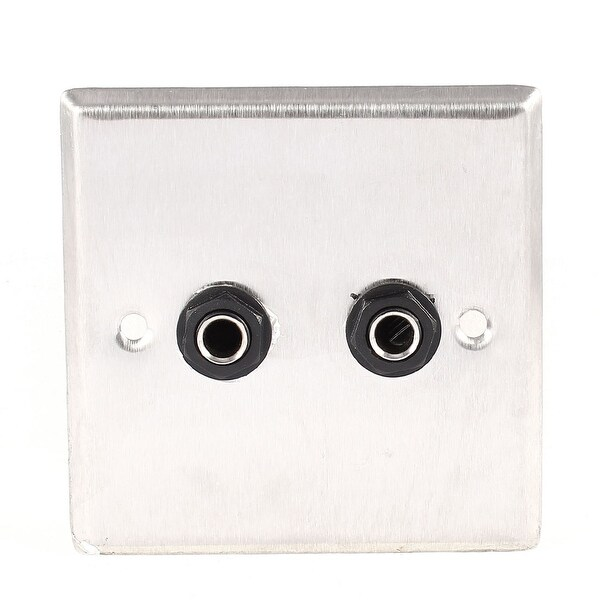 Square Wall Panel Plate Dual 6.35mm 1/4 Female Audio Jack Sockets Silver Tone