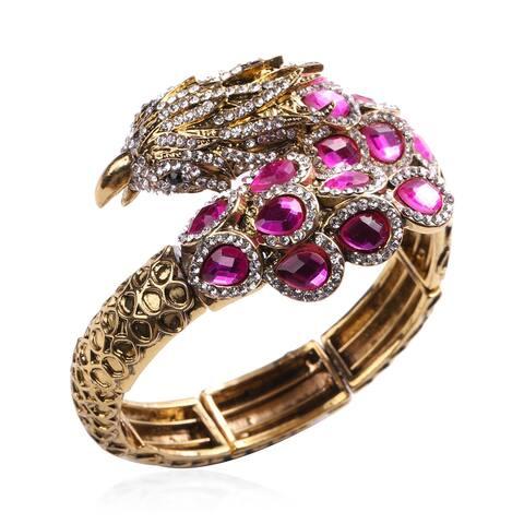 Alloy Fuchsia Glass White Crystal Bangle Cuff Bracelet Size 7 In - Bracelet 7''