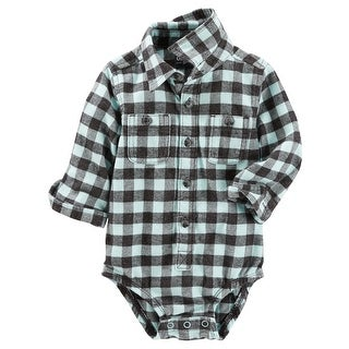 OshKosh B'gosh Baby Boys' Button-Front Plaid Flannel Bodysuit