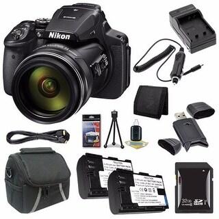 Nikon COOLPIX P900 16MP Digital Camera (International Model No Warranty) + EN-EL23 Battery + 32GB SDHC Card Bundle