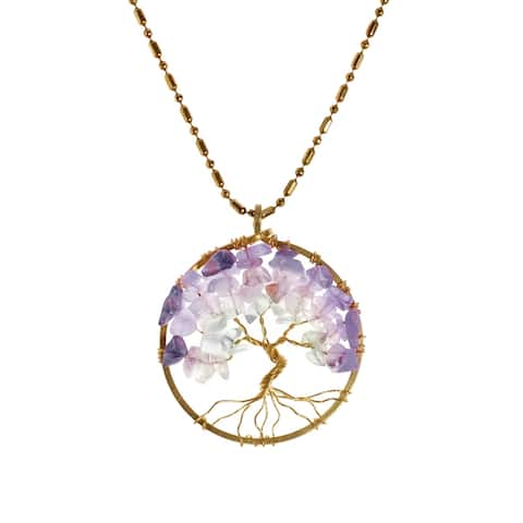 Handmade Charisma 30mm Tree of Life Stone and Brass Pendant Necklace (Thailand)