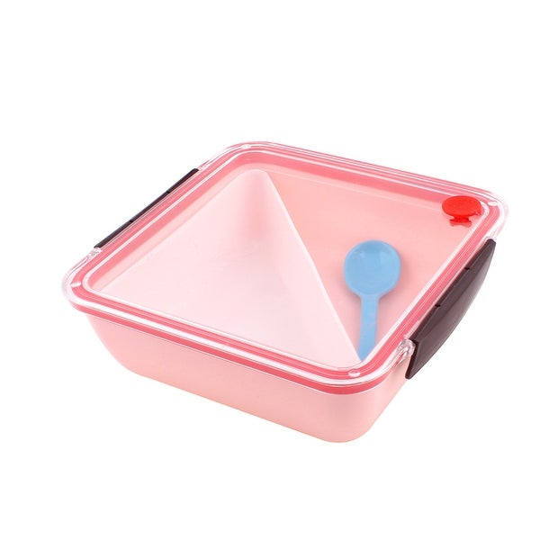 Unique Bargains PP Square Shaped Picnic Lunch Box Lunchbox Food Storage Container Pink w Spoon