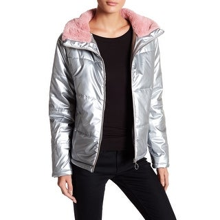 Abound Silver Pink Women's Size Large L Faux Fur Puffer Jacket