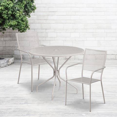 """35.25"""" Round Gold Indoor-Outdoor Steel Patio Table Set w/ 2 Square Back Chairs"""