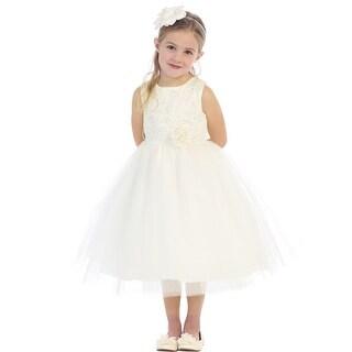 Girls Ivory Floral Embellished Lace Tulle Junior Bridesmaid Dress