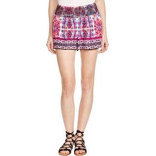 Aqua Womens Firecracker Casual Shorts Crinkled Printed