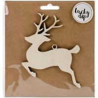 Kaisercraft LDB1095 Reindeer Lucky Dip Wood Flourish - 4.75 x 4.75 in.
