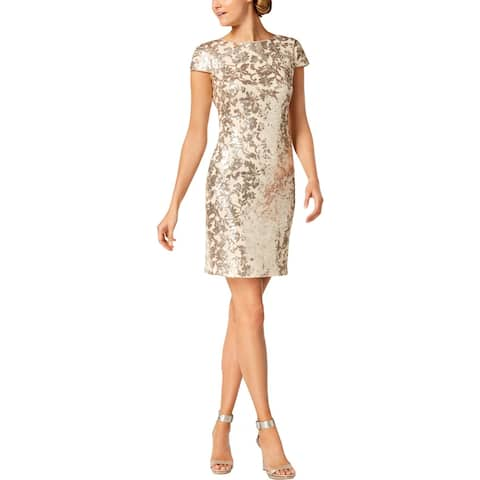 Calvin Klein Womens Cocktail Dress Sequined Cowl Back