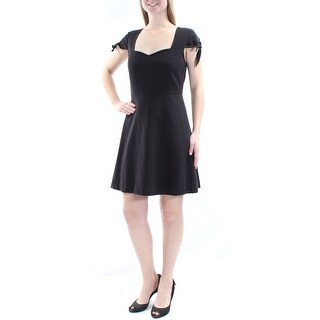 Womens Black Short Sleeve Above The Knee Fit + Flare Evening Dress Size: M