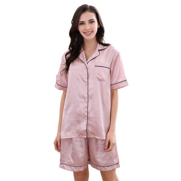 Richie House Women's Satin Two-piece Pajama Set with Shorts